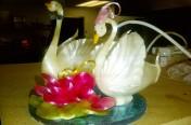 Sugar swans wedding cake top