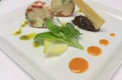 poached chicken, goats cheese & roast pepper roulade