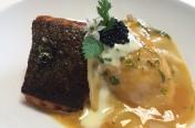 Roast whisky cured salmon with ravioli of langoustine & langoustine essence
