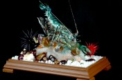 Hand crafted sugar lobster scene – gold medal at the salon cullinaire