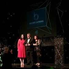 getting trophy from elaine c smith and sponsor